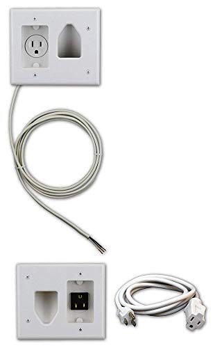 DATA COMM Electronics 50-3323-WH-KIT Flat Screen TV Cable Organizer Kit with Power Solution - TV Cable Concealer - Hides TV Cables in Home Theater - White