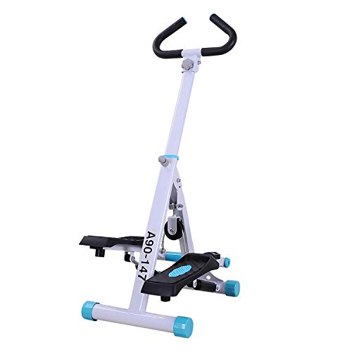 HOMCOM Stepper w/Handle Hand Grip Workout Fitness Machine For Fitness Aerobic Exercise Home Gym White