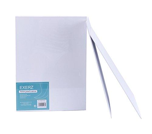 Exerz Paquete de 6 Paneles de Lienzos / 40 x 30cm 280GSM / Pre-Estirado 100% Algodón/Color Blanco/Triple Preparado/Libre de Acido/Hebra Media / 0,3 cm de Espesor