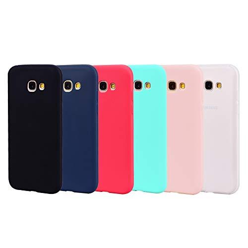 6x Cover per Samsung Galaxy A5 2017 Cover, morbida in tinta unita in TPU Custodia in silicone ultra-sottile ultra-leggera per caramelle [Nero + Blu scuro + Rosso + Verde menta + Rosa + Traslucido]