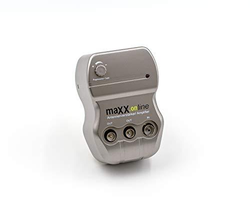 maxx.onLine 2 Geräte Antennenverstärker 2X 20 dB Verstärkung, 10-20 dB regelbar, 85-1006 MHz für Kabelfernsehen DVB-C, DVB-T, DVB-T2, UHF, VHF, UKW, Full HD, HDTV
