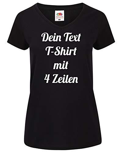 Damen T-Shirt V-Auschnitt Bedrucken mit dem Amazon Tshirt Designer. T-Shirt selber gestalten. T-Shirt Druck. T-Shirt mit Wunschtext. T Shirts sind Ökotex-100 Zertifiziert. Schwarz XS