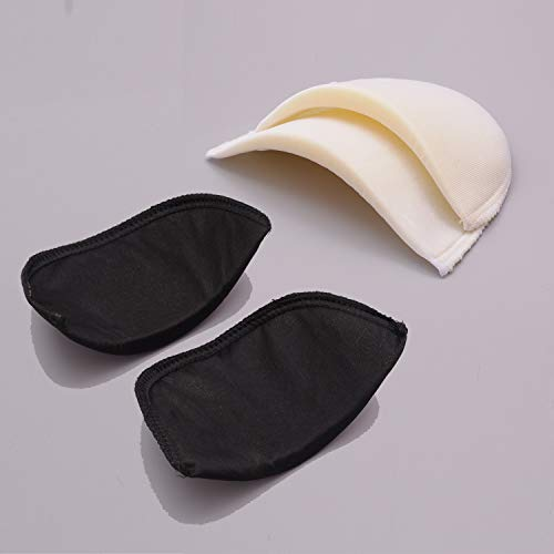 4 Pairs Covered Set-in Shoulder Pads Sewing Foam Polyester Pads (2 White + 2 Black)