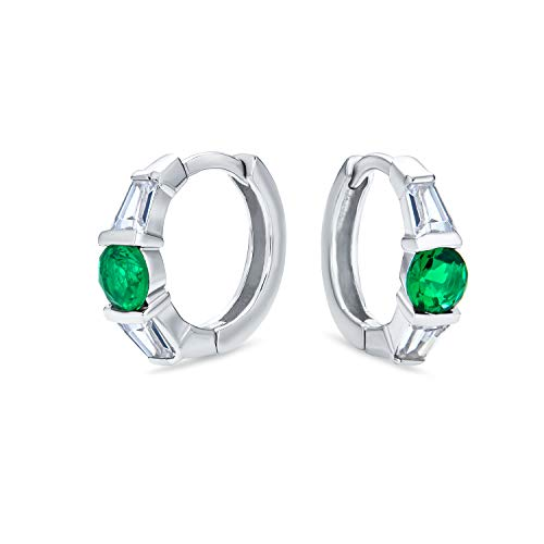 Verde Blanco CZ Baguette Huggie Pendiente De Aro Para Mujer Y Para Los Hombres Simulado Zirconio Cúbico Esmeralda 925