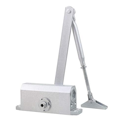 Yardwe 10-50 Kilogramos de Cierrapuertas con Retenedor Capacidad Dispositivo de Cierre de la Puerta del Brazo Automática de 90 Grados (Plata)