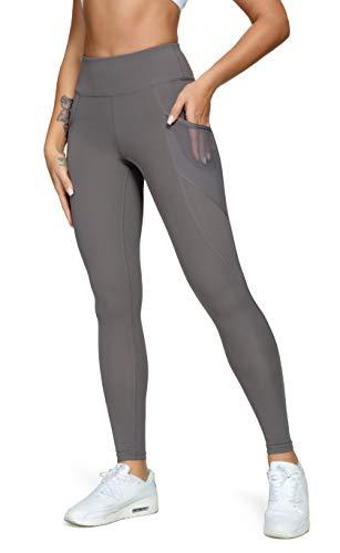 QUEENIEKE Damen Yoga Leggings Power Flex Mesh Mittlere Taille 3 Handytasche Gym Laufhose Farbe Dunkelgrau Größe M(8/10