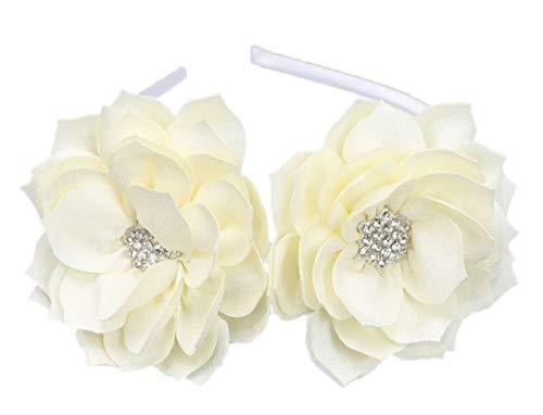 Fascinator Headband Hair Clip Lotus Flower Bridal Headpieces Wedding Party Cocktail Headwear (Beige)