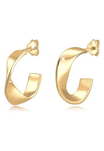 Elli Ohrringe Damen Creolen Hänger Basic Geo Gedreht Twist in 925 Sterling Silber