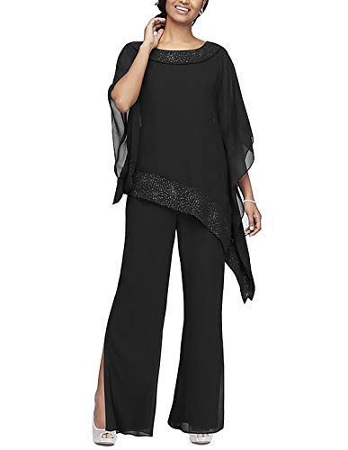 Women's Elegant Chiffon 3 Pieces Pant Suits Set Mother of The Bride Dresses with Outfit Wedding Party Plus Size(Black,US16)