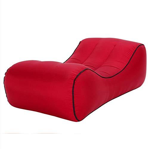Lazy aufblasbares Sofa Nylon reißfestes Material tragbares Luftbett im Freien-rot_S.