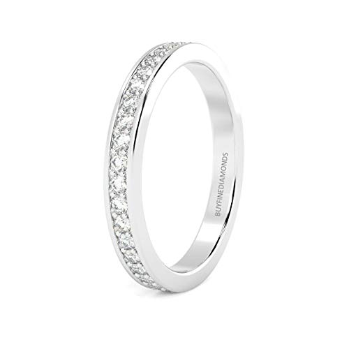2.0mm Heavy 0.50 Carat Round Diamond Pave Set Full Eternity Ring in White Gold Size J