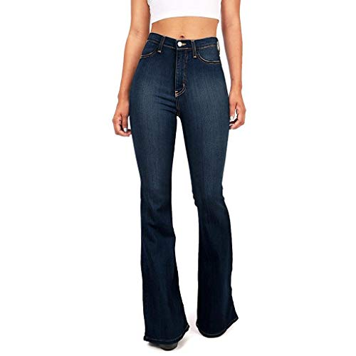WUAI-Women Plus Size Flare Bell Bottom Jeans Oversized Classic High Waisted Bootcut Casual Flare Denim Pants(Dark Blue,XX-Large)