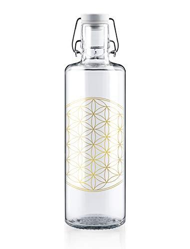 soulbottles 1,0l • Flower of Life • Trinkflasche aus Glas • vegan, plastikfrei, klimaneutral, nachhaltig
