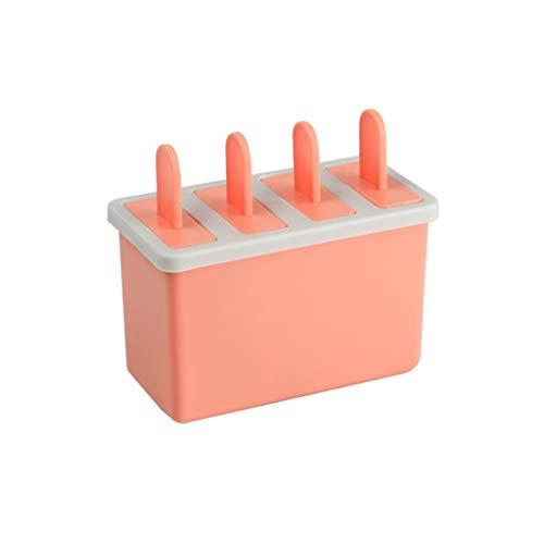 NIBABA Bandeja de Hielo de Silicona Conveniente Grado alimenticio Verano PP moldes de Paleta Caja de Hielo Cubo de Hielo Helado de Bricolaje Moldes de Hielo (Color : Orange, Size : Free Size)