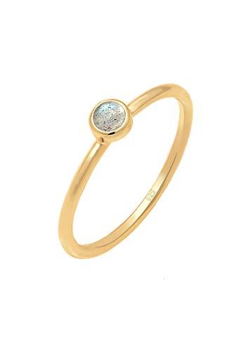 Elli Ring Damen Stapel Labradorit Edelstein 925 Sterling Silber vergoldet