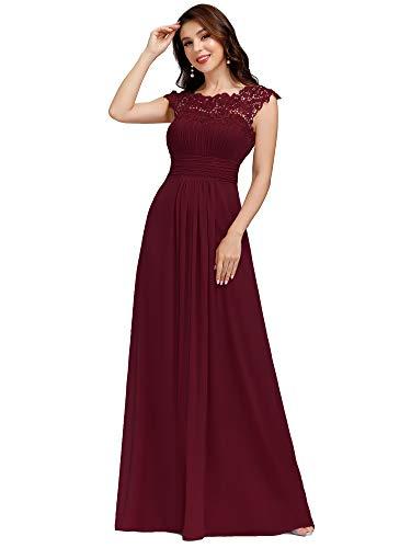 Ever-Pretty Vestido de Fiesta para Noche Encaje Largo para Mujer A-línea Gasa Escote Redondo Corte Imperio Elegantes Burdeos 44