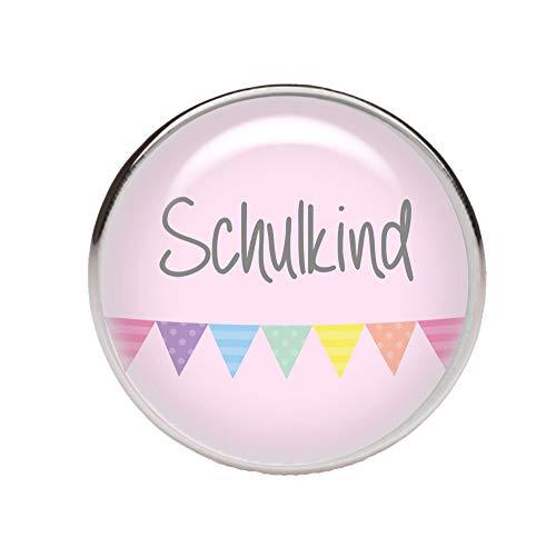KT-Schmuckdesign Schiebeperle rund, rosa, mit Schulkind Schriftzug und bunten Wimpeln, versilberte Fassung