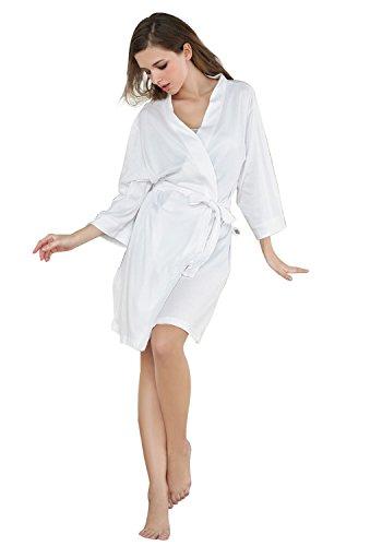Godsen Women's Comfort Cotton Sleepwear Bathrobe (X-Small, White)