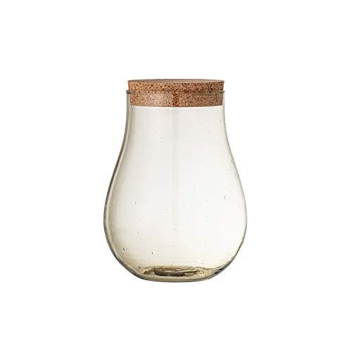 Bloomingville Olive Recycled Glass Jar with Cork Lid, Glas, olivgrün