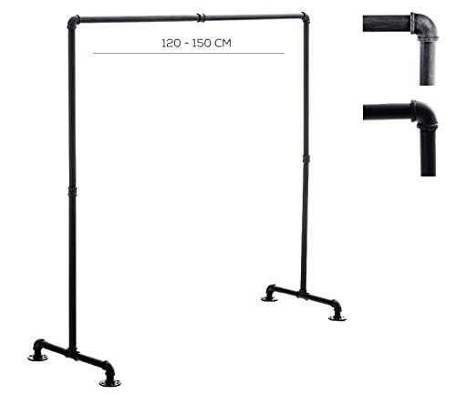CLP Kleiderständer Jersey aus Metall im angesagten Industrial Design | Höhe ca. 150 cm | Breite 120-150 cm 150 cm, Schwarz