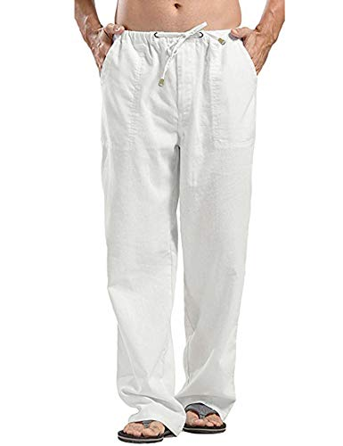 Oyamiki Mens Linen Pants Beach Casual Summer Elastic Waist Drawstring Loose Fit Trousers with Pockets White/L