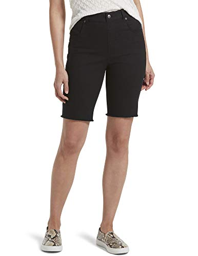 HUE Women's Ultra Soft Denim High Waist Bermuda Shorts, Black, Medium