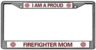 Proud Firefighter MOM Auto License Plate Frame,US Firefighter Premium Slim Style Stainless Steel License Plate Frame Bonus Matching Screws Caps
