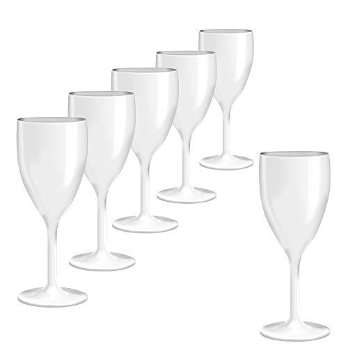 DoimoFlair Weinglas aus Kunststoff Weinbecher Plastik Weißweinglas Rotweinglas Weiß 34 cl. Set 6 Stück