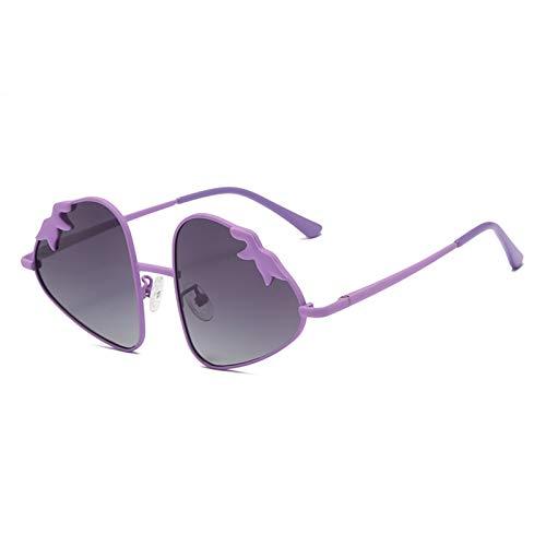 HQPCAHL Gafas De Sol Niños Niños Niños Y Niñas Gafas De Sol Polarizadas Moda Cómodo Protección UV400 Gafas De Sol De Metal De Fresa Edad 5-16,G