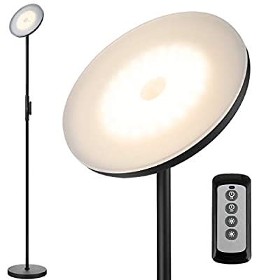 JOOFO Floor Lamp,30W/2400LM Sky LED Modern Torchiere 3 Color Temperatures Super Bright Floor Lamps-Tall Standing Pole Light with Remote & Touch Control for Living Room,Bed Room,Office?Black?