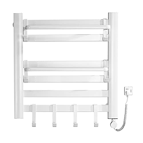 Towel Warmer with Timer, Electric Heated Towel Rack with Top Tray Wall Mounted, 6 Bars Aluminum Alloy Plug-in Electric Towel Heater Rack for Home Bathroom (White))
