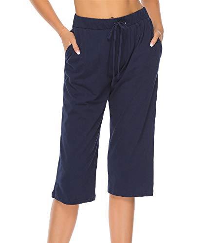 Vlazom 100% Algodón Pantalones de Pijama Mujer Verano, Partes de Abajo de Pijamas para Mujer