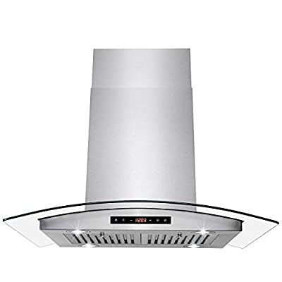 AKDY 30 in. Convertible Island Mount Range Hood with Tempered Glass and Touch Control Carbon Filters in Stainless Steel