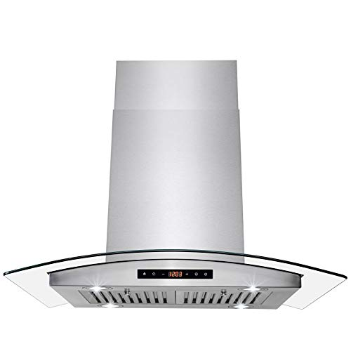AKDY 36 in. Convertible Wall Mount Range Hood with Tempered Glass and Touch Control Carbon Filters in Stainless Steel