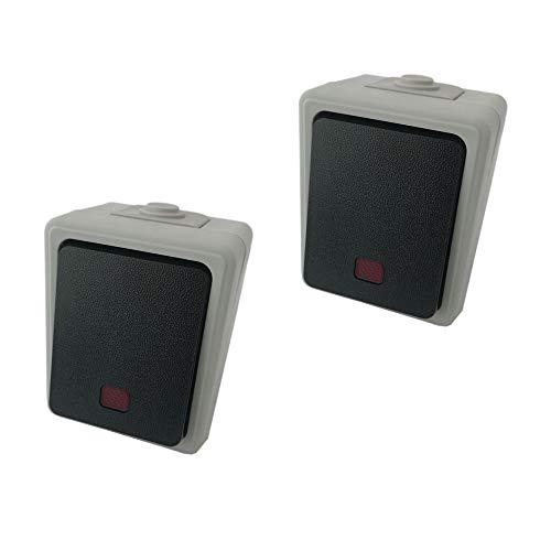 Outdoor Feuchtraum Lichtschalter Wechselschalter Stromschalter Ausschalter IP44 mit Wippe und Kontrolllicht
