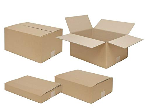 50 Faltkartons variable Höhe 400 x 300 x 200 bis 65 mm | Versandkarton mit zwei Zusatzriller | 25-900 Stück wählbar