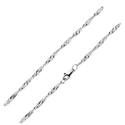 MATERIA Feine Singapurkette 925 Silber Kette Damen 60cm - 3mm Halskette Frauen flach diamantiert K95-60 cm