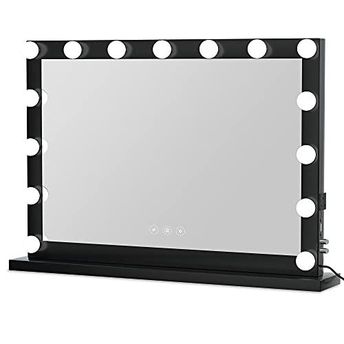 Glamour Mirrors Dita - Espejo LED de Hollywood (70 x 100 cm), color negro