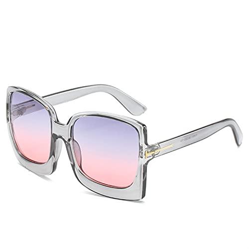 FDNFG Vintage Gafas de Sol cuadradas de Gran tamaño Mujeres Grandes Negro T Sun Galsses Shades Wayewear Gafas de Sol (Lenses Color : Gray f Purple Pink)