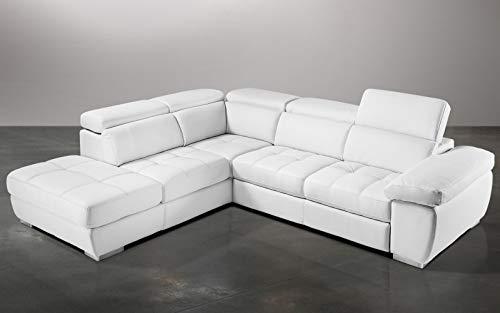 Dafne Italian Design Sofá cama esquinero de 3 plazas con chaise longue a la izquierda, piel sintética blanca (285 x 245 x 97 cm)