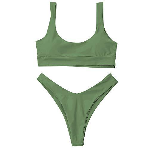 ZAFUL Bikini Scoop Neck High Cut Padded Swimwear Push Up Swimsuit Two Piece Bathing Suits Pea Green M