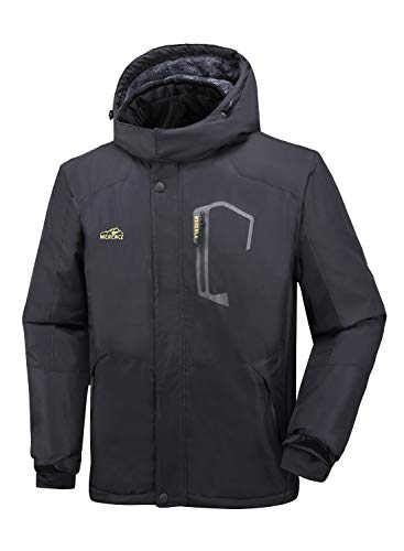 Men's Mountain Waterproof Ski Jacket Windproof Rain Jacket Winter Warm Snow Coat II with Removable Hood U120WCFY028,Darkgrey,L