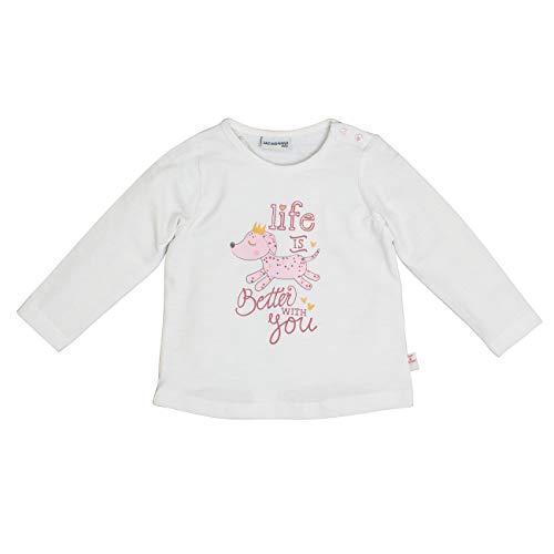 Salt & Pepper Baby-Mädchen Lovely Hund Life is Better Langarmshirt, Weiß (Off-White 011), (Herstellergröße: 74)