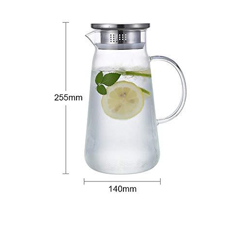 YLiansong-home Jarra de Agua Jarra de Agua Jarra de té Jugo Bebida Bebida Jarrafa Gran Capacidad Borosilicato Vidrio Botella de Agua fría Jarra de Jugo (Color : Clear, Size : 1200ml)
