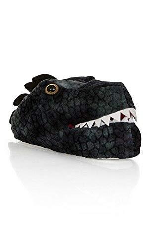 Mens/Older Boys Black Dinosaur Head 3D Novelty Slippers Sizes UK 7-12 (Numeric_7)