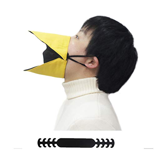 YULAO DA Personality Animal Face Cover, Talking Duck Face Cover,Open and Close When You Move Your Jaw ,Can Be Used On Ears or With Extension Straps Holder. (YELLOW, M(For adult))