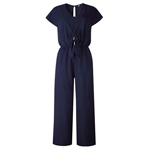 Women Wide Leg Rompers Summer Short Sleeve Jumpsuit Lace Up Long Playsuit Loose Long Pants Outfit Sets Beach Tracksuit (Navy, XL)
