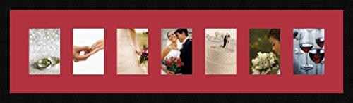 Cadres Photos pêle mêle multivues Rouge 7 Photo(s) 11x15 Passe Partout, Cadre Photo Mural 100x25 cm Noir, 3 cm de Largeur