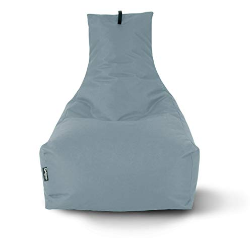 Lounge Sitzsack Liege Beanbag 32 Farben wählbar 90cm(Ø) Rückenlehne Bodenkissen Indoor Outdoor Sitzsäcke Gaming Kinder Bean Bag Erwachsene Riesensitzsack gefüllter Sessel (Grau)