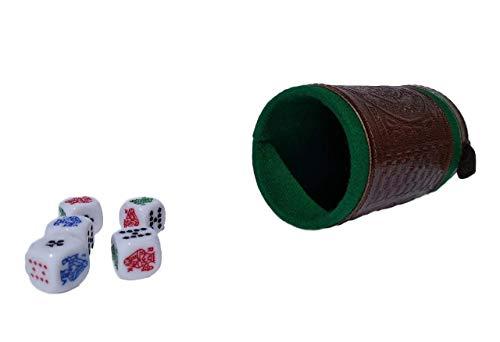 Poker dice Game Set Brown